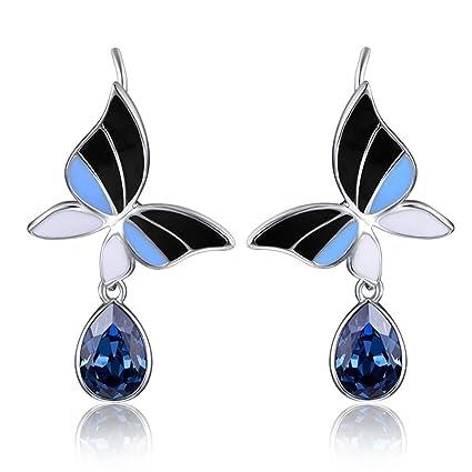6b03ad1620252 Amazon.com: CJH Crystal Pure 925 Silver Earrings Temperament Long ...