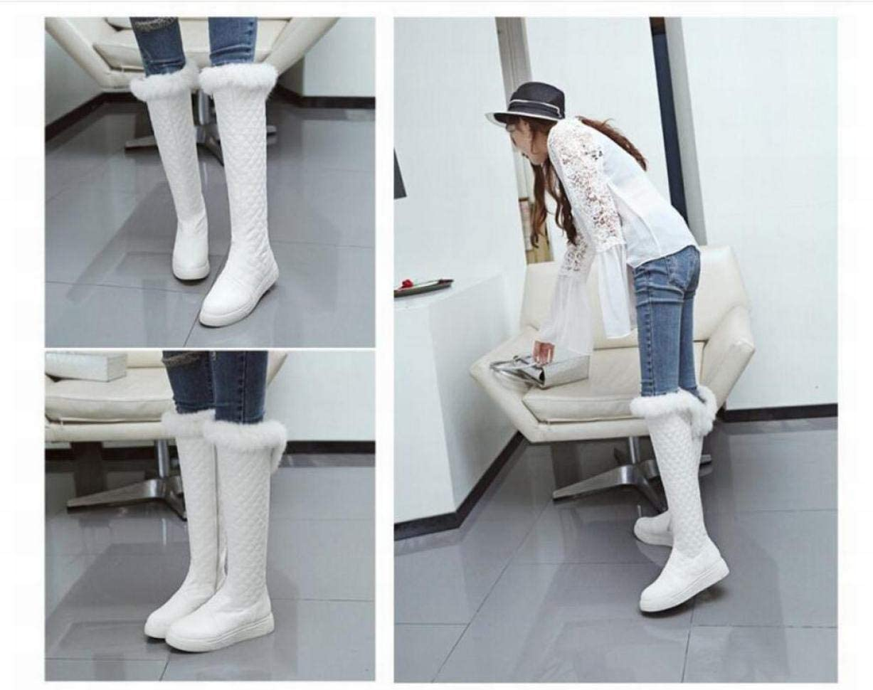 Women'S Boots - Autumn And Winter Long Tube Over The Knee Boots/Plus Velvet Thick Leather Surface Was Thin High Cotton Boots/Large Size Women'S Shoes Black