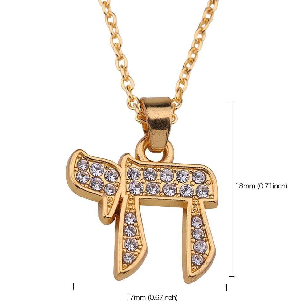 hebr/äisch fishhook Wicca Halskette mit Anh/änger Talisman Runen religi/öses Design Kristallsteine Alphabet
