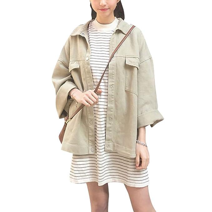 ZhuiKun Chaqueta Largas de Mezclilla Denim Jacket Suelto Chaqueta Oversized Abrigo Cazadora para Mujer: Amazon.es: Ropa y accesorios