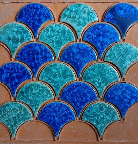 11PCS blue green fish scale ceramic mosaic tile kitchen backsplash bathroom swimming pool wall shower wallpaper porcelain background ()