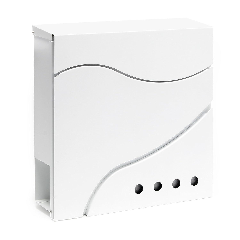 Cassetta postale di design V29 vano portagiornale montaggio a parete bianco