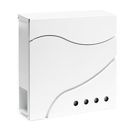 Buzón correo diseño V29 blanco de pared soporte bandeja ...