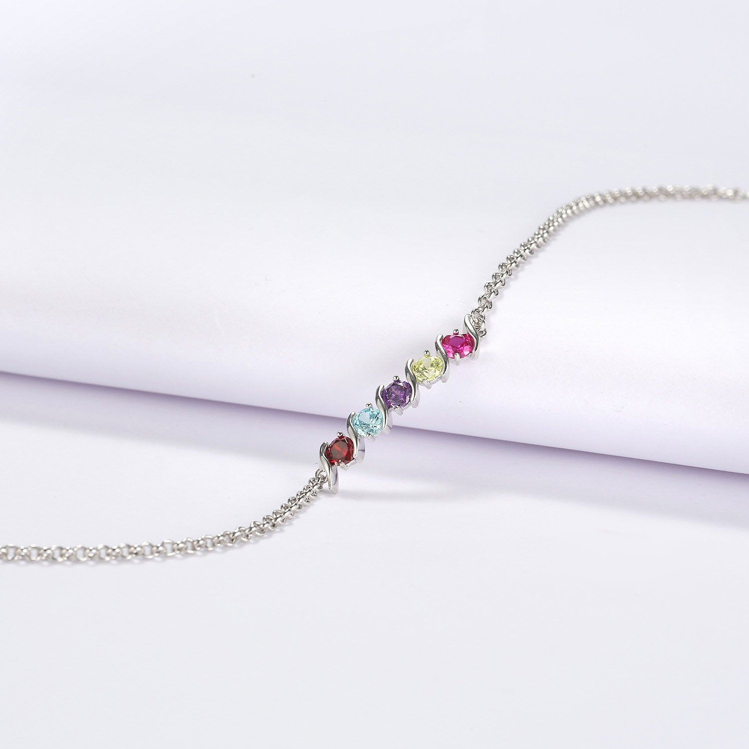 Caperci 925 Sterling Silver Round Shaped Multi-Gemstones Adjustable Link Tennis Bracelet for Women by Caperci (Image #2)