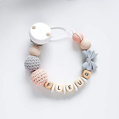 und H/äkelperlen und einer Einhorn-Perle f/ür M/ädchen Schnullerkette mit Namen in Apricot und Grau mit Silikon