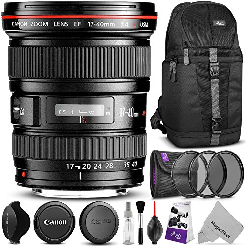 Canon EF 17-40mm F/4L USM Ultra Wide Angle Zoom Lens w/ Advanced Photo and Travel Bundle - Includes: Altura Photo Sling Backpack, UV-CPL-ND4, Camera Cleaning Kit by Canon