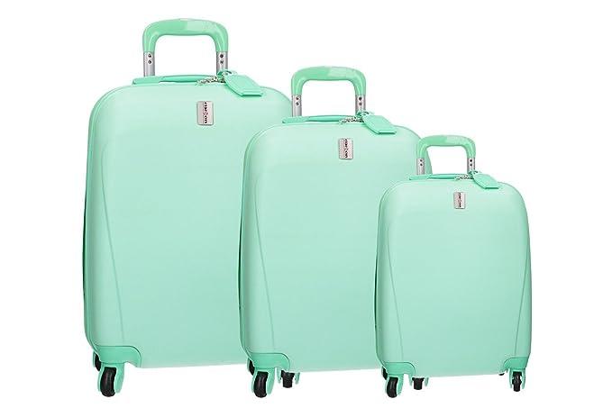 CLACSON 3 Maletas rígidas set verde equipaje de mano carretilla 4 ruedas VS310: Amazon.es: Ropa y accesorios