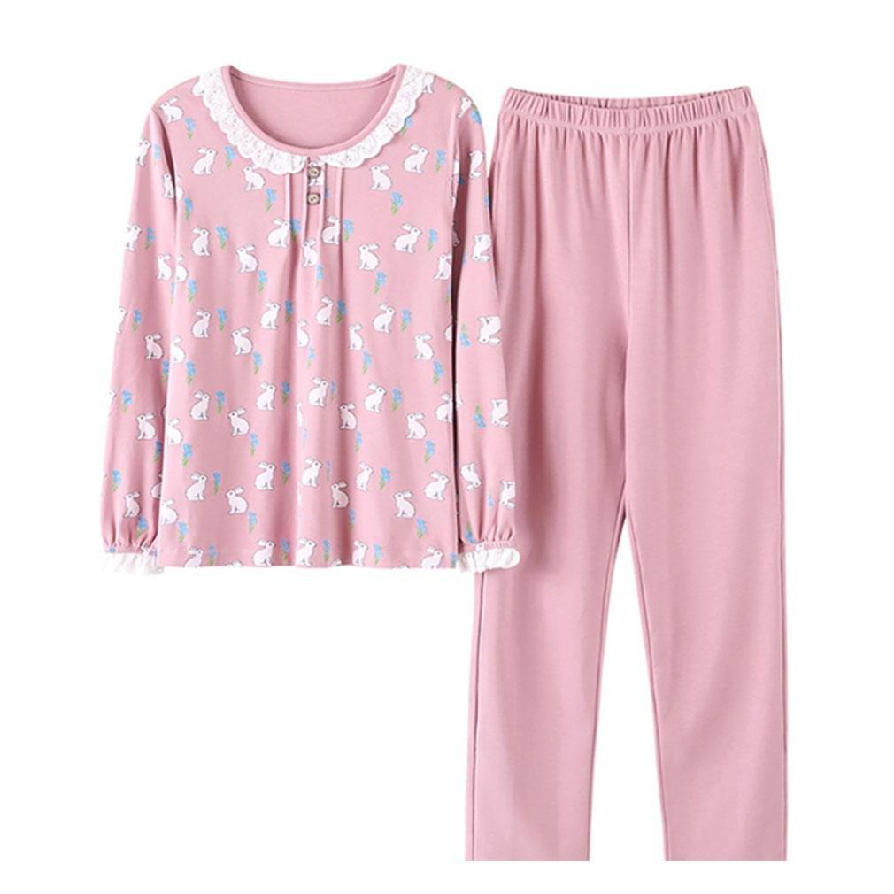 MOXIN Autumn and winter Women's Sleepwear Long Sleeves Cotton Pajama Set With Pants , M , 5#
