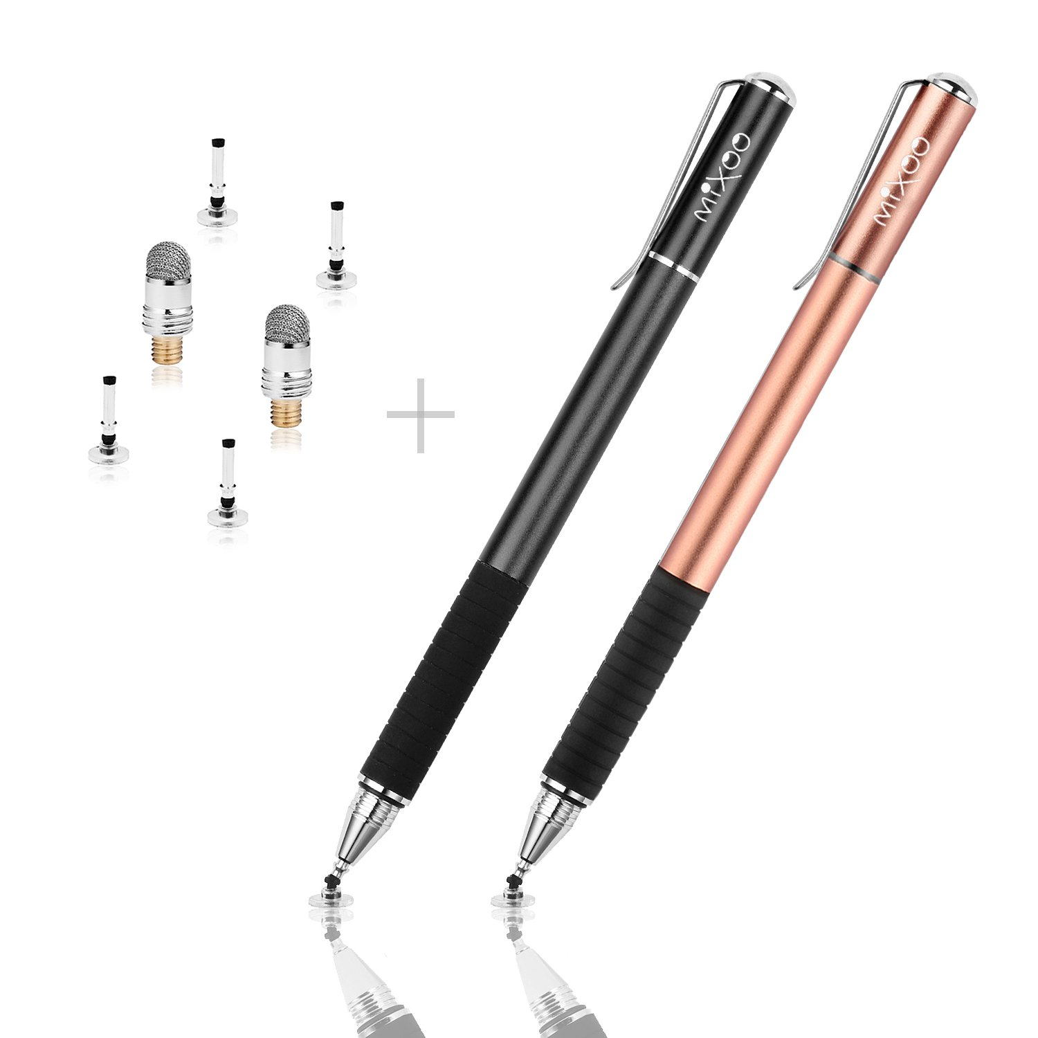 Mixoo Capacitive Stylus Pen,Disc Tip & Fiber Tip 2in1 Series, High Sensitivity & Precision styli Pens, Universal for ipad,iPhone, Tablet, Other Touch Screens Devices (Rose Gold/Black)
