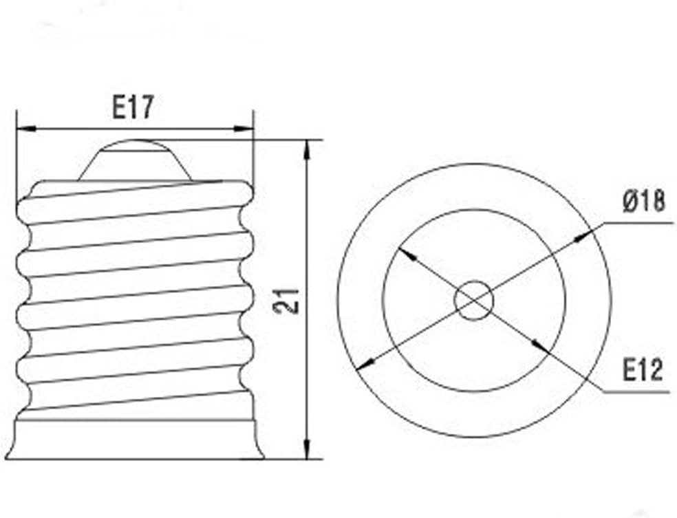 Yi Lighting Intermediate Screw E17 TO E12 Candle Candelabra E12 Base Screw Adapter Converter 6pcs//Pack