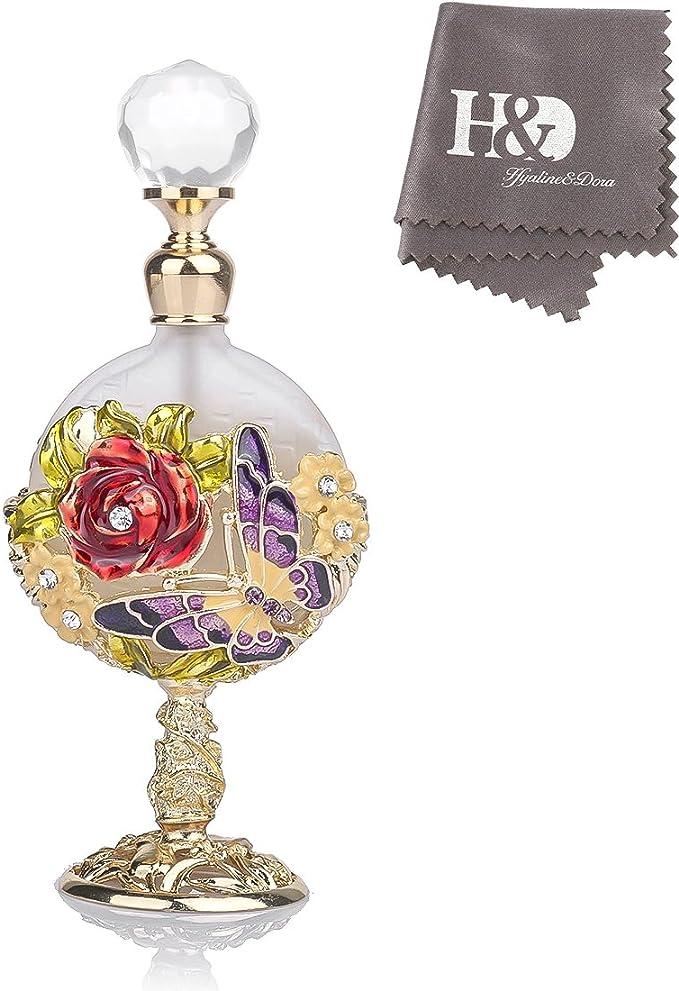 H&D Perfume Bottle Vintage Rose Jeweled
