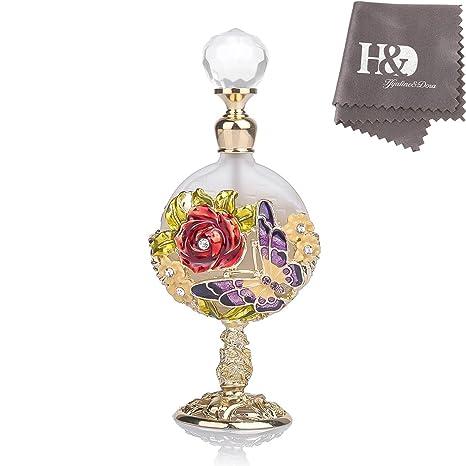 H&D - Botella de perfume de cristal vacía con diseño vintage ...
