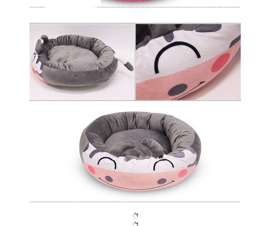 Huihuger Pet Blanket Cute Cartoon Animal Style Pet Nest Autunno Inverno Caldo PP Alta Elastico Cotone con Cerniera Rimovibile rossoondo Waterloo Cane Letto Cat Mat (colore  Grigio Mucca, Dimensioni  S)