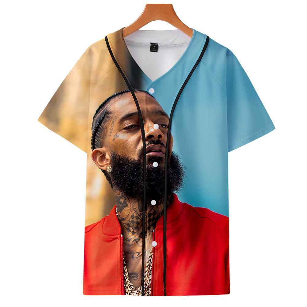 MOIMK Nipsey Hussle Hip Hop Rapper 3D Gedruckt Einfache Sommer Trend D/ünne Baseball T-Shirt