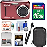 Kodak PIXPRO Friendly Zoom FZ43 Digital Camera (Red) 16GB Card + Case + Selfie Stick + Kit