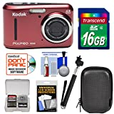 Kodak PIXPRO Friendly Zoom FZ43 Digital Camera (Red) with 16GB Card + Case + Selfie Stick + Kit