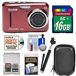 Kodak Pixpro Friendly Zoom Fz43 Digital Camera (Red) With 16gb Card + Case + Selfie Stick + Kit