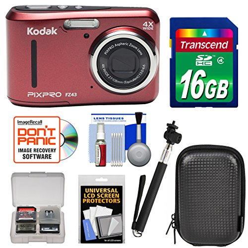 Kodak PIXPRO Friendly Zoom FZ43 Digital Camera (Red) 16GB Card + Case + Selfie Stick + Kit