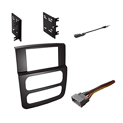 Double DIN Radio Dash Kit with Antenna Adapter & Harness for 2002 2003 2004 2005 Dodge RAM 1500 2500 3500: Car Electronics