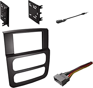 Double DIN Radio Dash Kit with Antenna Adapter & Harness for 2002 2003 2004 2005 Dodge RAM 1500 2500 3500