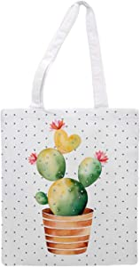 Womens Tote Bag - Cactus Edition Dots - Sports Gym Lunch Yoga Shopping Travel Bag Washable - 1.47X0.98 Ft - White