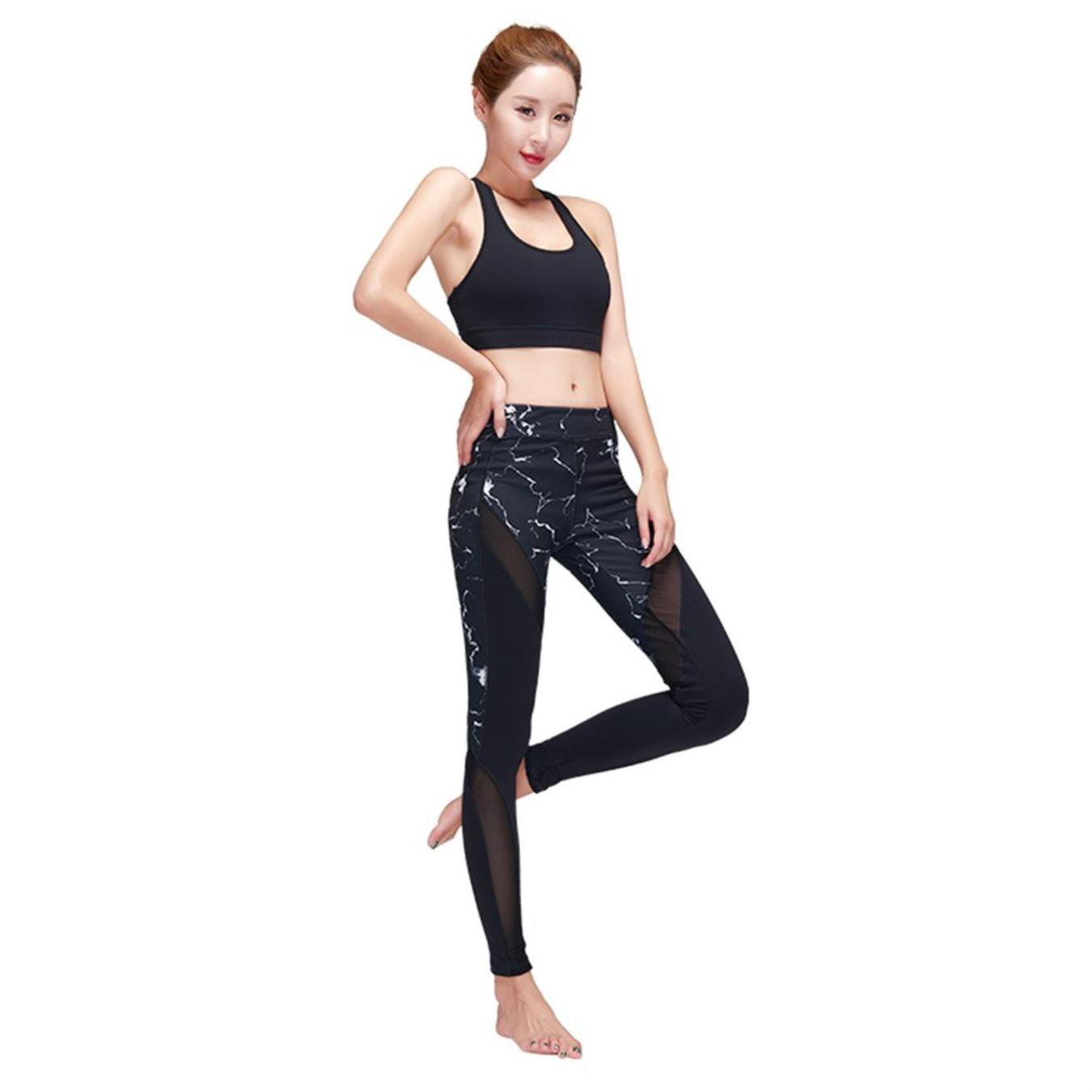TUONFC Women Sexy Sports Bra Long Pants Set Back Hollow Out Elastic Yoga Clothing Push Up Bra