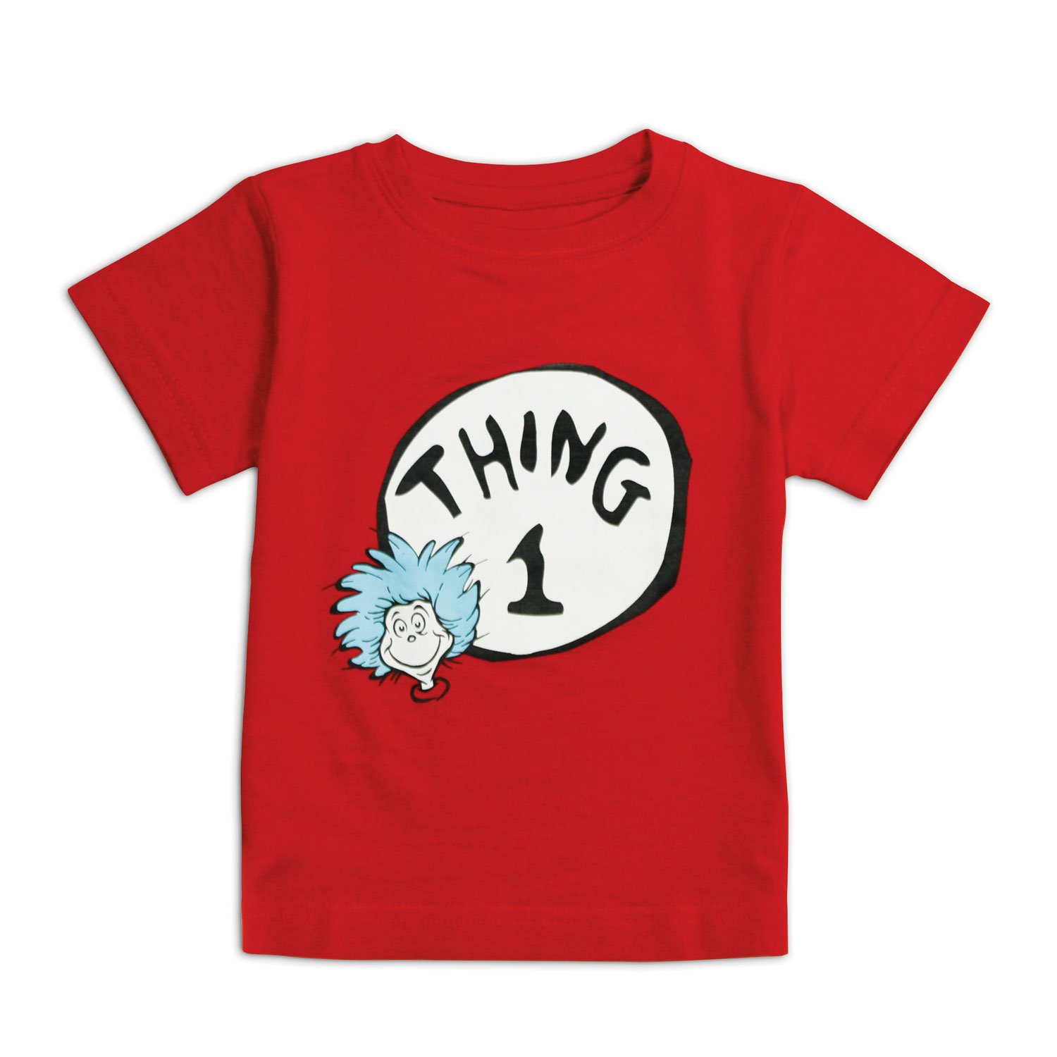 Bumkins Unisex-baby Infant Dr. Seuss Thing 1 Short Sleeve Tee, Red, 24 Months SSTC-T1