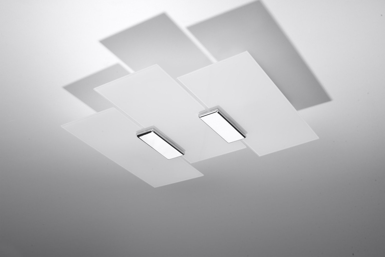 Moderne Deckenleuchte (B40cm, L42cm, 3-flmg, Modern, Weiß, Chrom) Innenleuchte Flurleuchte Designerleuchte Deckenlampe