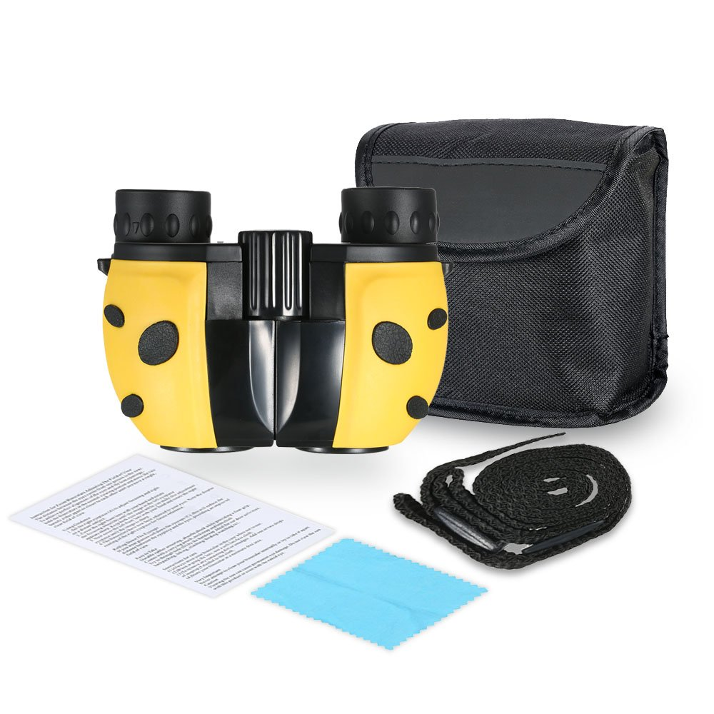 Manuel Telescope for Kids, 8x22 Binoculars Set High Resolution Real Optics- Science Exploration Toy- Children Gifts- Boys and Girls-Outdoor Play,Yellow by Manuel (Image #1)