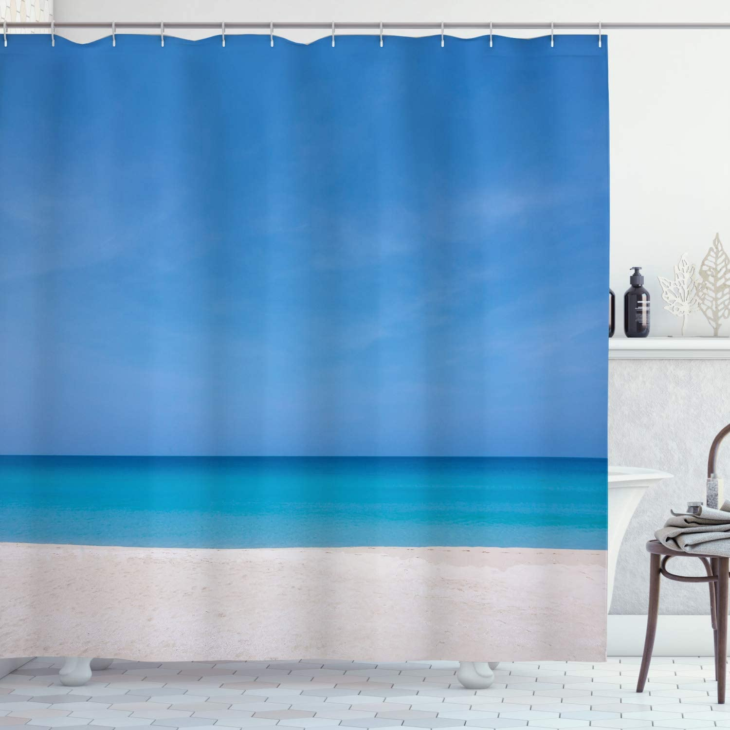 Amazon Com Ambesonne Ocean Shower Curtain Sandy Paradise Beach With Empty Relaxing Off Gone Away Theme Print In Tropical Land Cloth Fabric Bathroom Decor Set With Hooks 70 Long Blue Beige Home