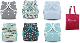 product image for Thirsties Duo Wrap Snaps Size 1 Gender Neutral Colors 6 Pack with Reusable Dainty Baby Bag Bundle
