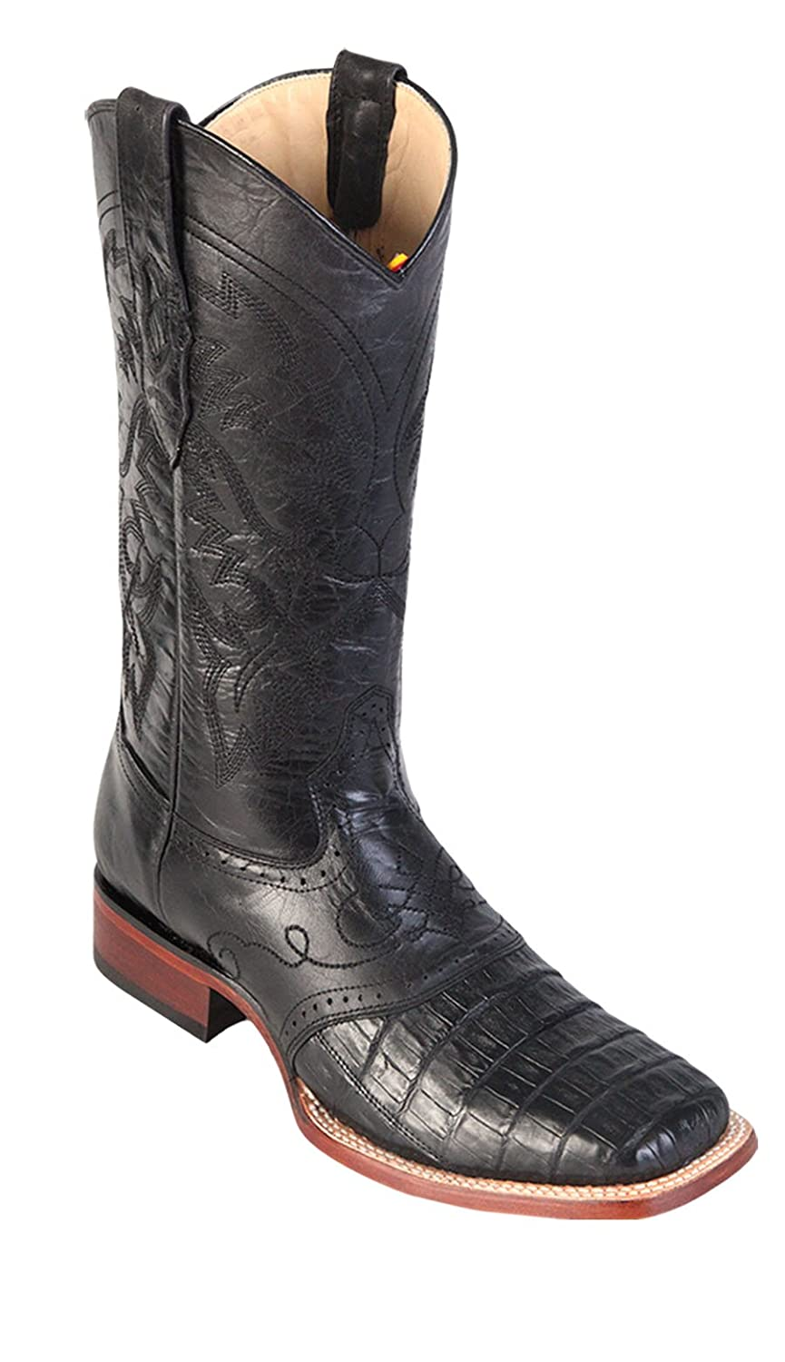 Men's Wide Square Toe Black Cherry Genuine Leather Caiman Belly w/ Saddle Skin Western Boots