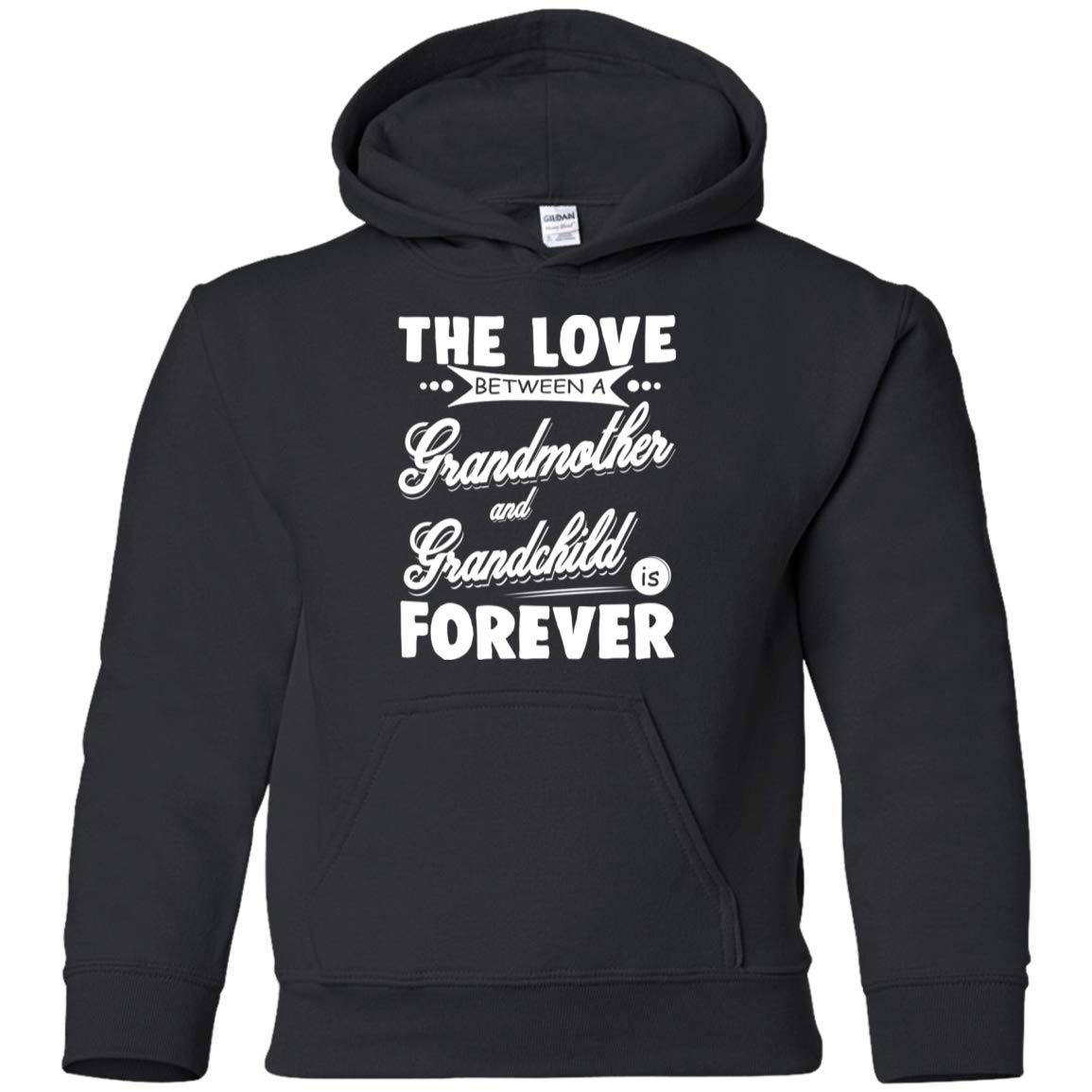 G185B Gildan Youth Pullover Hoodie Teely Shop Little Girls The Love Between A Grandmother And Grandchild Is Forever