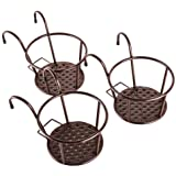 HowRU Iron Art Hanging Baskets Plant Holder Outdoor Flower Stand Rail Metal Fence Balcony Plant Stand - Pack of 3