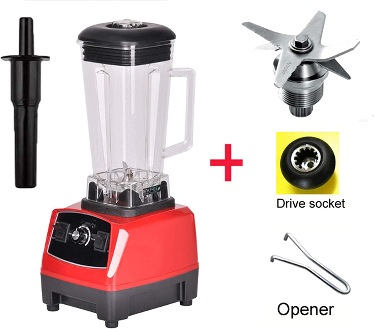 2200W BPA FREE 3HP 2L G5200 high power commercial home professional smoothies power blender food mixer juicer fruit processor,RED FULL PARTS