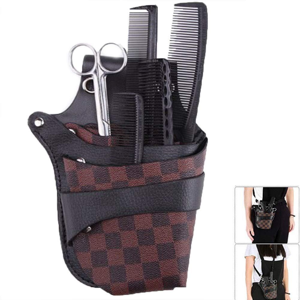 PU Leather Hair Scissor Holster Hairdressing Bag Waist Shoulder Belt 123456