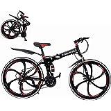 Folding Mountain Bike, 26-inch Outdoor Sports High Carbon Steel MTB Bicycle, Aluminum Wheel Rim, 21-Speed Rear Derailleur, Su
