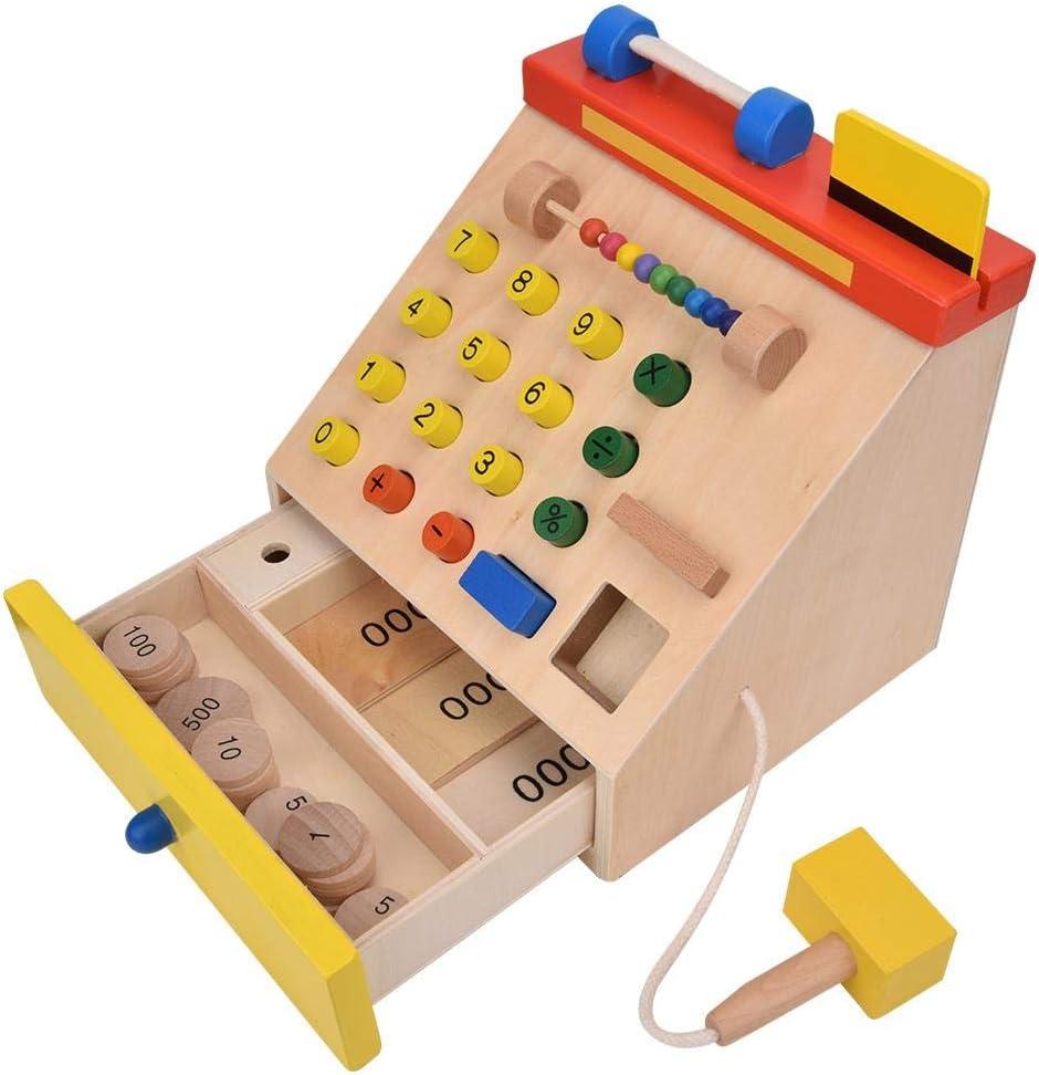 Cajero de Juguetes educativos para niños, Caja registradora de simulación de Madera para niños Que Juega Juguete con Dinero de Juego para niños Mayores de 3 años: Amazon.es: Hogar