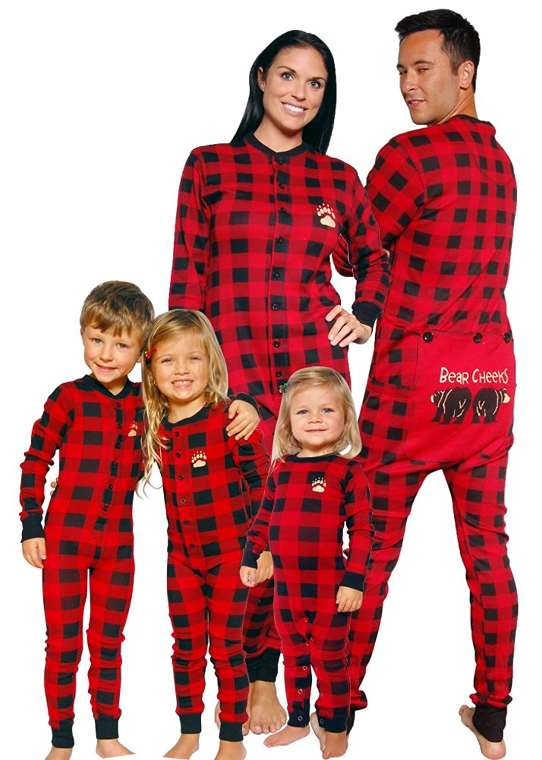 Amazon.com: Lazy One Bear Cheeks Adult Red & Black Plaid Flapjack ...