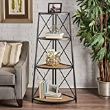 Danny Indoor Industrial Naturally Antique Firwood 3-Tier Corner Shelf with Black Finished Iron Frame