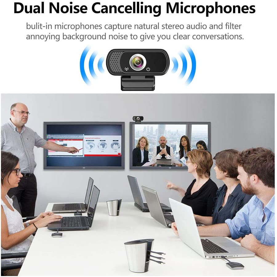 1080P Webcam with Microphone Computer Camera Web Camera PC Webcam for Video Calling Recording Conferencing,Webcam with Privacy Protection Button Built-in 2 Array Mic Webcam