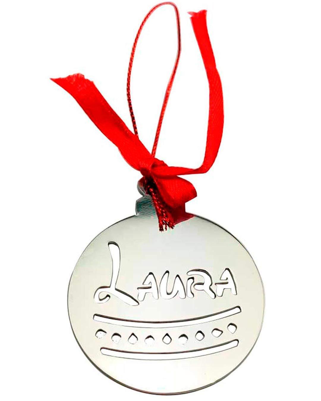 Complementos Mar/ía Manuela Bolas de Navidad Personalizables Acero Inoxidable