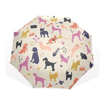 GUKENQ - Paraguas de Viaje para Perros y Gatos, Colorido, Ligero, antiUV,