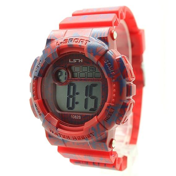 besttime l-sport Digital reloj correa de caucho de color rojo/Gif patrón para niño: Amazon.es: Relojes