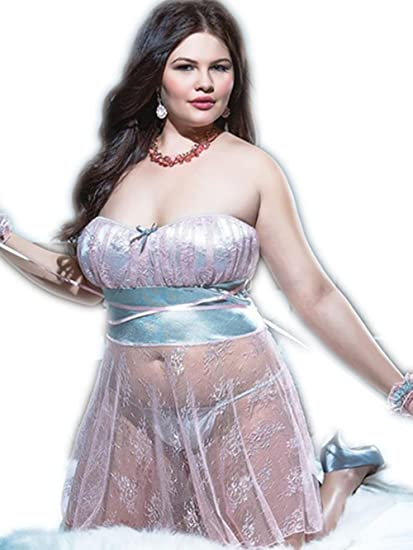 XIONGMEOW Lencería Mujer Talla Grande Sin Respaldo Top Estilo Tentación De Encaje Vestido Transparente Tanga Esposas