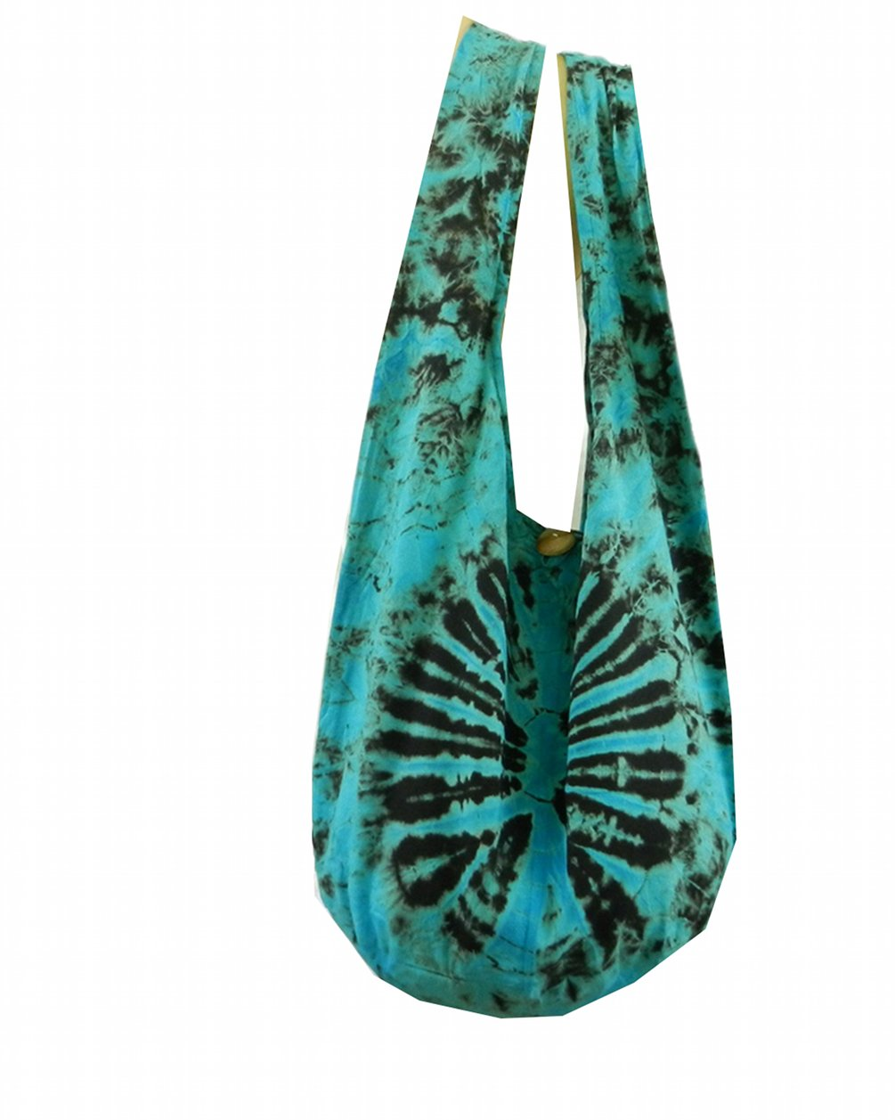 BTP! Tie Dye Sling Crossbody Shoulder Bag Purse Hippie Hobo Cotton Bohemian Colorful Firework (Turquoise VJ6)