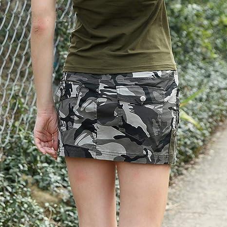 DAHDXD Mini Falda para Las Mujeres de Moda Militar de Verano ...