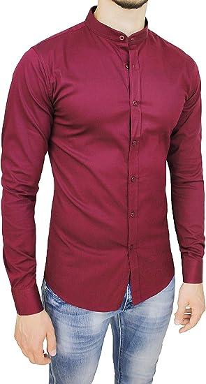 Evoga Camisa de Hombre Slim Fit Elegante Casual Rojo Burdeos con Cuello Coreano: Amazon.es: Ropa y accesorios