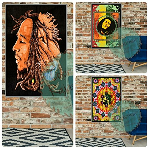 Set Of 3 Bob Marley Tapestry Psychedelic Hippie Reggae Music Indian Decor Wall Hanging Decor Cotton Poster Yoga Mat Tapestry by Colors Of Rajasthan