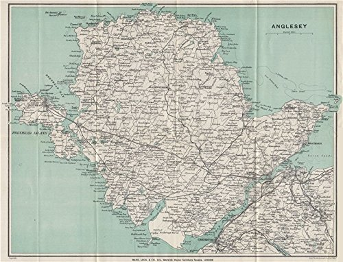 ANGLESEY. Menai Strait Holyhead Bangor Beaumaris Caernarvon. WARD LOCK - 1925 - old map - antique map - vintage map - Wales maps